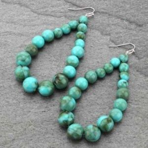 Graduated Round Turquoise Tone Bead Earrings